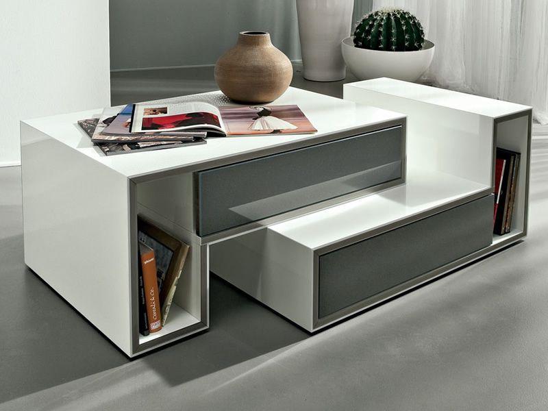 PA361D  Tavolino componibile in legno laccato, con