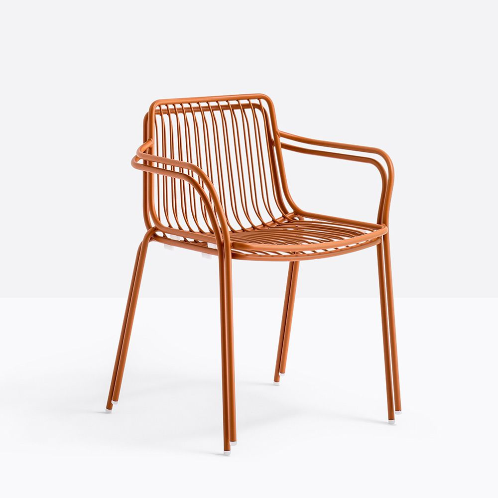 Nolita P   Stackable Chair Made Of Varnished Metal In Terracotta Colour,  With Low Backrest