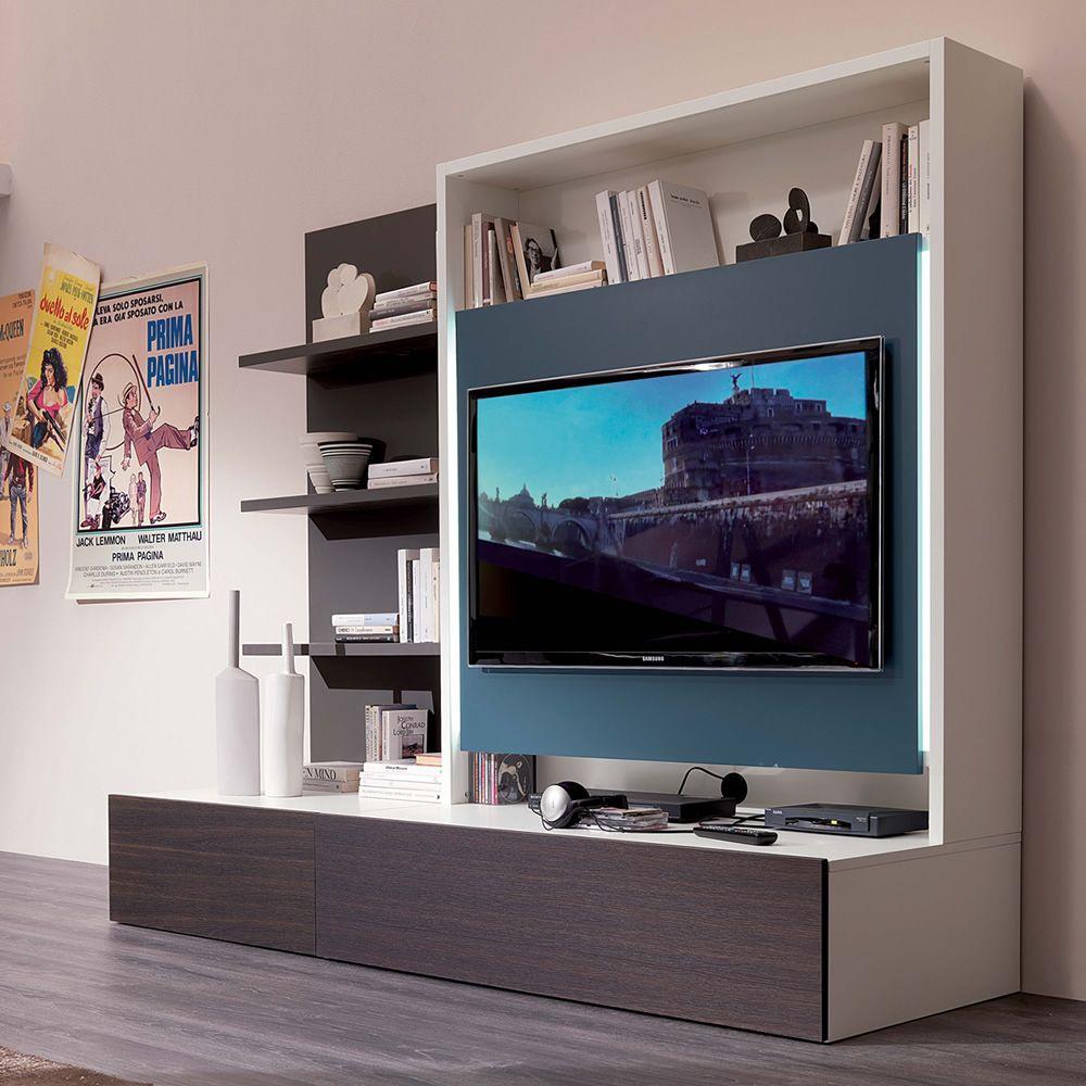 Smart living L - Mobile soggiorno in legno con 3 mensole, porta-tv ...