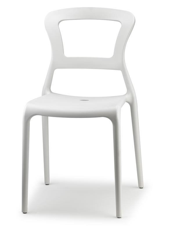 Pepper 2325 sedia in tecnopolimero impilabile for Sedia moderna bianca