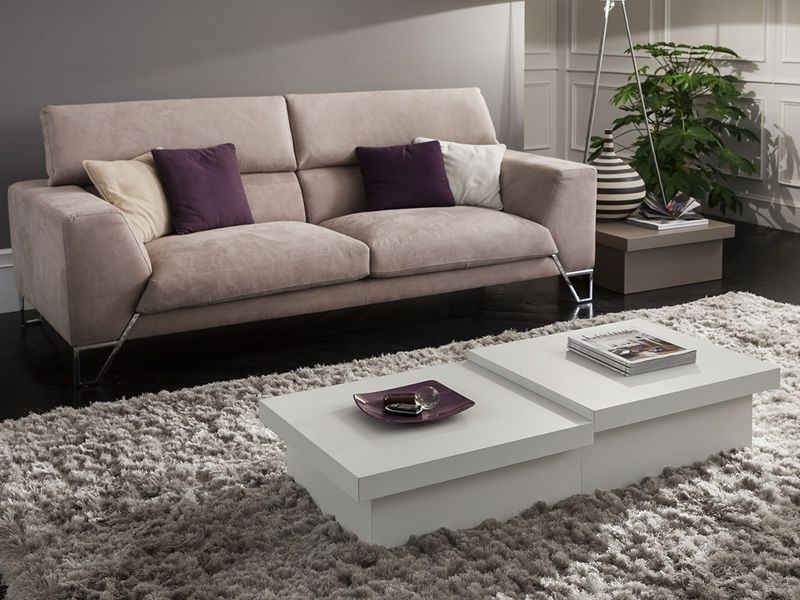 Pa347 Composition With Two Coffee Tables Diffe Heights In Matt White Colour