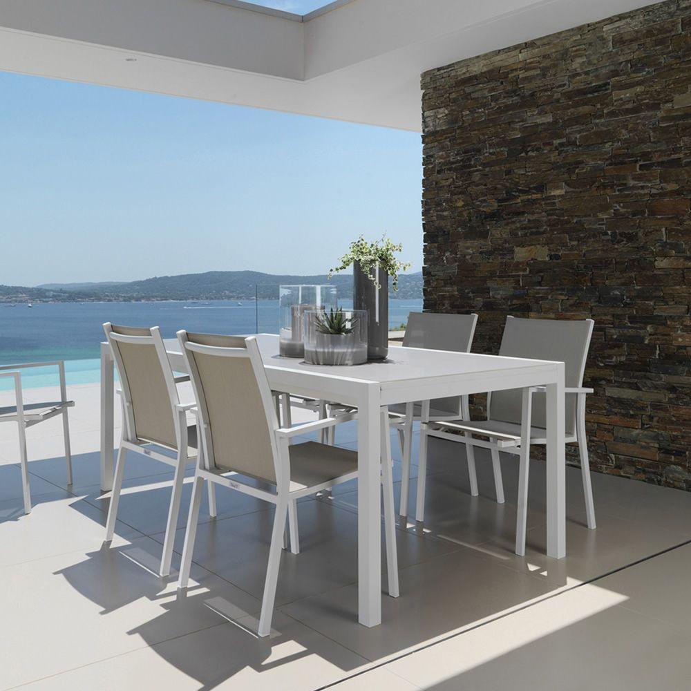 Maiorca t tavolo in alluminio con piano in vetro 152x90 for Sedie tavolo esterno