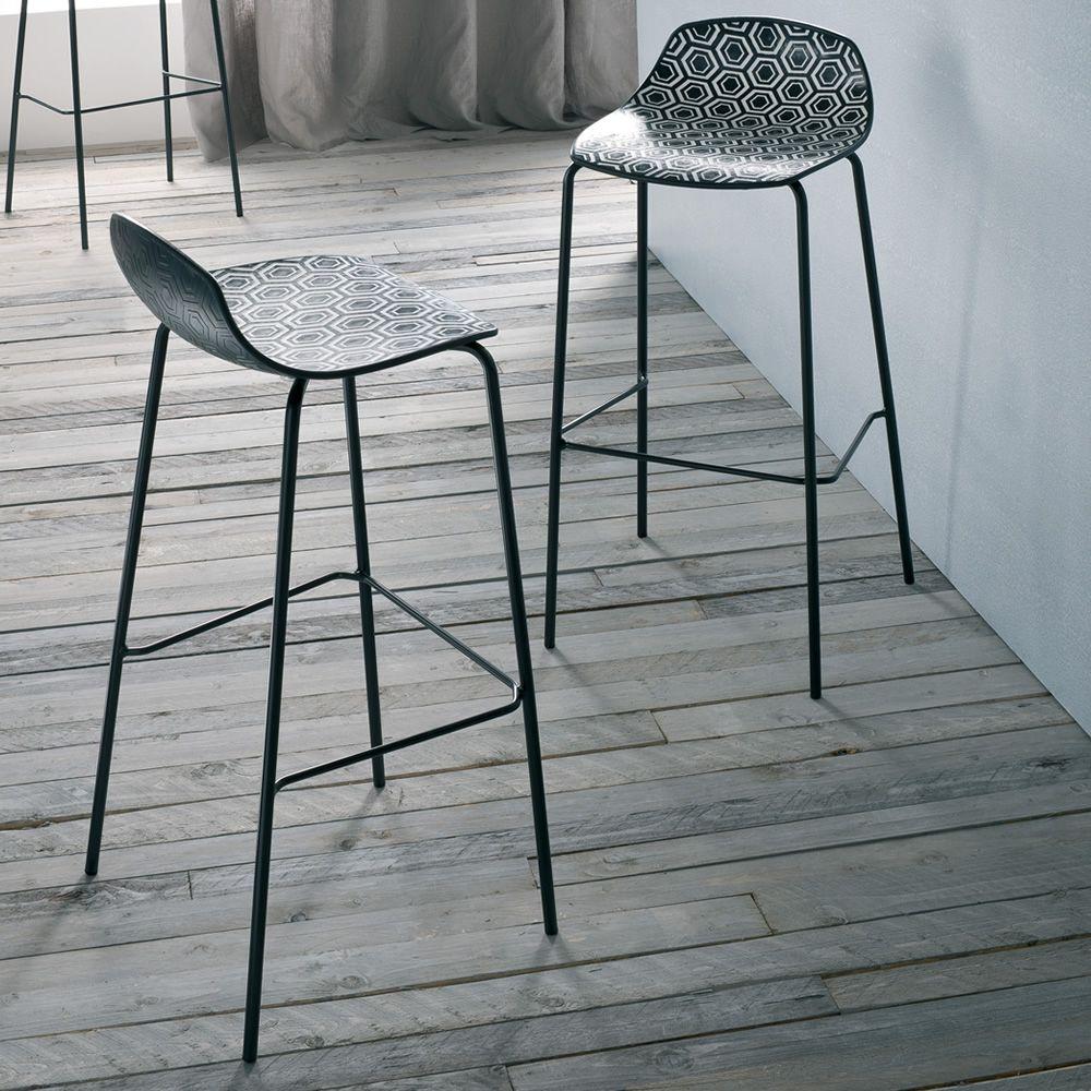 Alhambra s sgabello di design in metallo e tecnopolimero - Sgabelli moderni per cucina ...