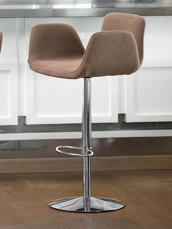 light sg h henverstellbarer und drehbarer hocker midj aus metall mit bezug aus leder. Black Bedroom Furniture Sets. Home Design Ideas