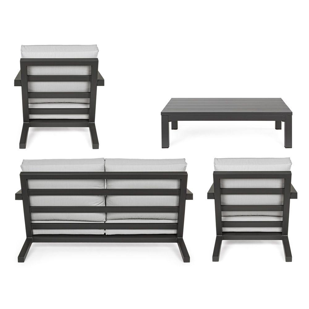 Delo set: Set de jardin en aluminium: 2 fauteuils, 1 canapé, 1 table ...