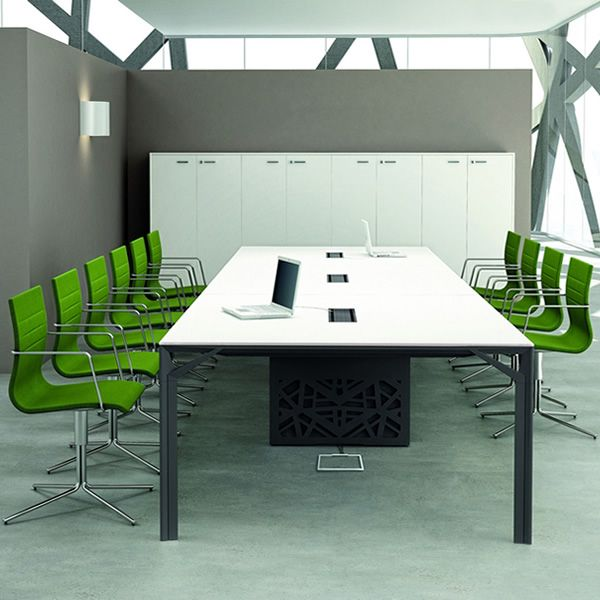 Office X Meet Large Boardroom Table In Metal And Laminate - Grey conference table