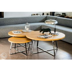 dj: midj coffee table with round hide top, different colours and