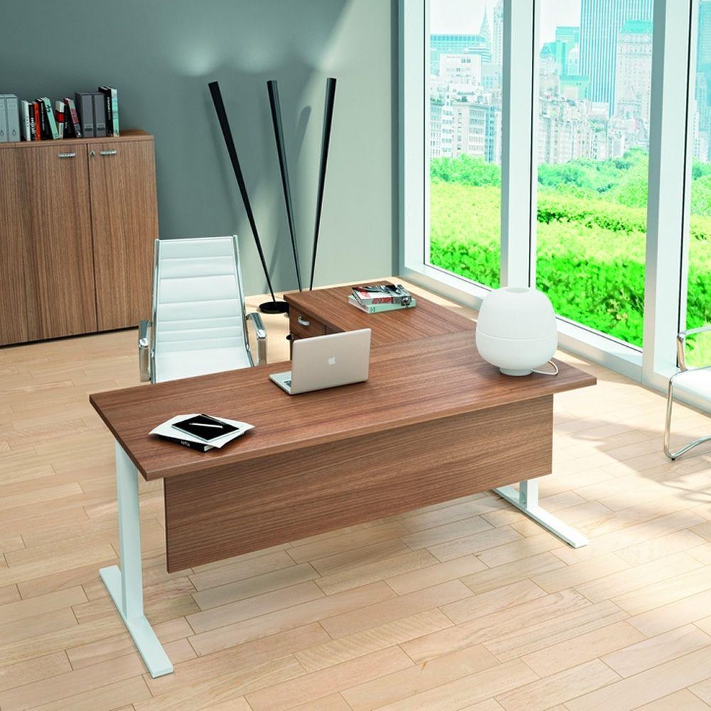 Idea tube 01 scrivania a l da ufficio con penisola e for Scrivania per pc