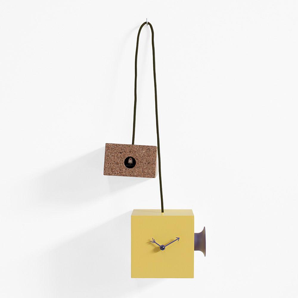 ... cucù da parete o da tavolo in legno laccato giallo e sughero