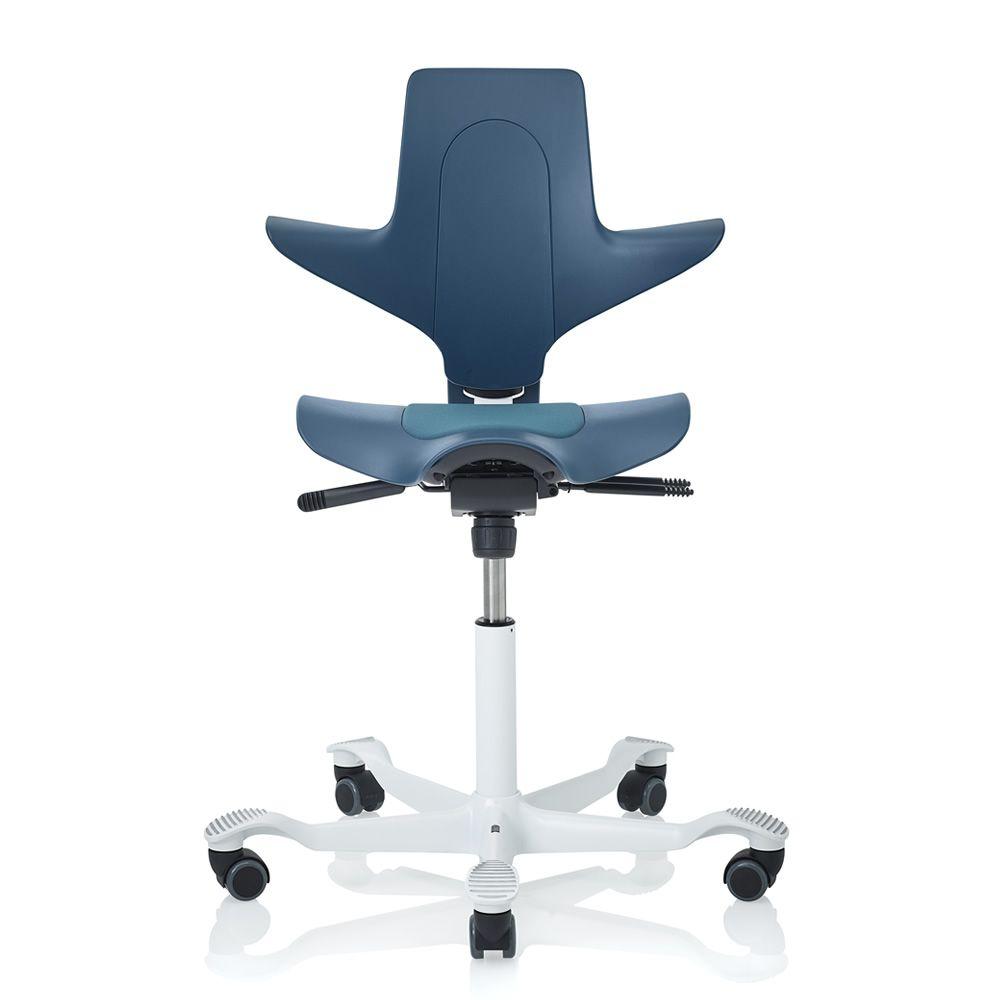 Capisco ® Puls Promo | Sedia ufficio in blu petrolio con base in alluminio laccato bianco