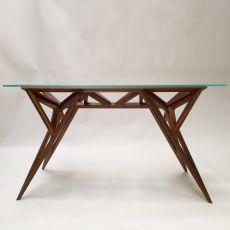 Schegge - Tavolo di design Valsecchi in legno con piano in vetro, fisso 200 x 80 cm