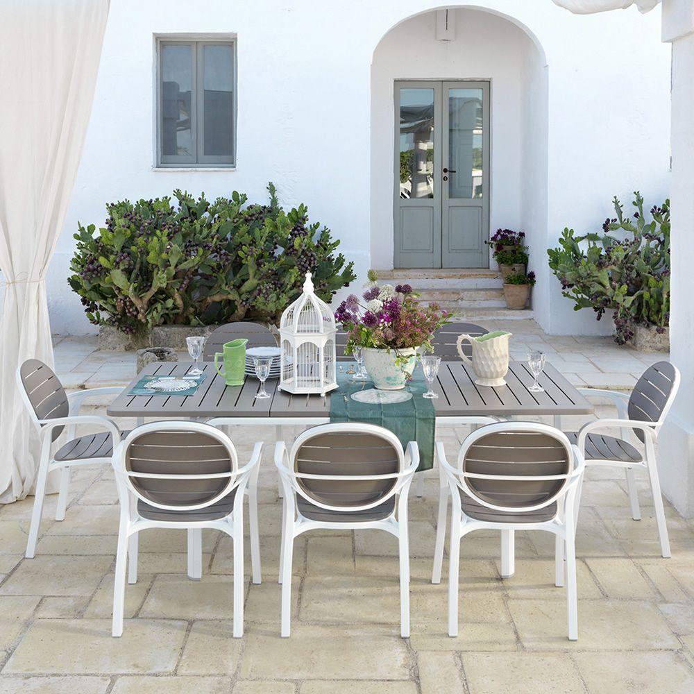 Alloro table rallonge en m tal plateau en r sine en diff rentes dimensions pour jard n - Table de jardin blanche avec rallonge ...