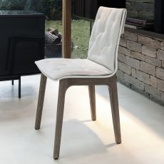 Alfa wood soft - Design chair Bontempi Casa, in wood with cushion, available in different colours and coverings