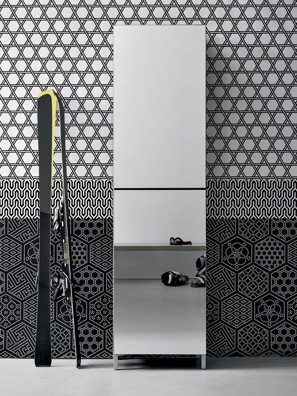 Linear mueble de entrada zapatero con puertas espejos for Zapatero entrada espejo
