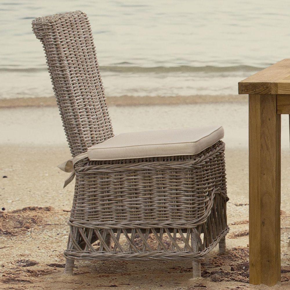 Warta sedia in rattan con cuscino per giardino - Sedia in rattan ...