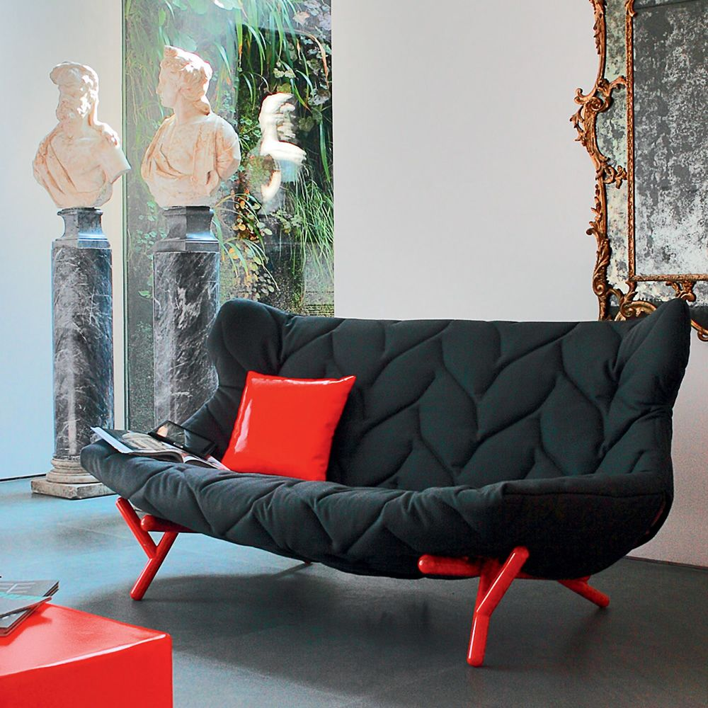 Foliage Sofa | Design Sofa In Red Lacquered Metal, Coated With Black Wool  Cloth
