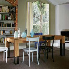 Acqua Alta - Table de Colico Design en bois, piétement en bois et métal, à rallonge et rectangulaire, différentes mesures