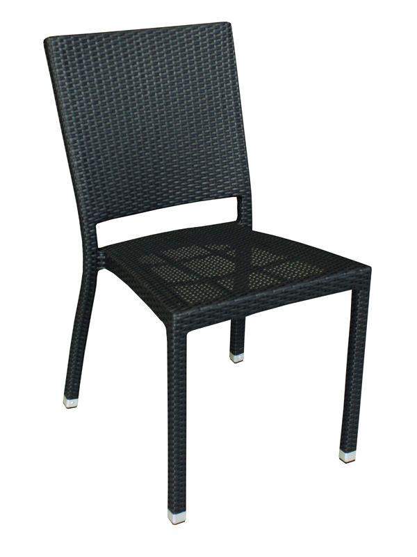 e18 pour bars et restaurants chaise empilable en aluminium et rotin synth tique noir pour l. Black Bedroom Furniture Sets. Home Design Ideas
