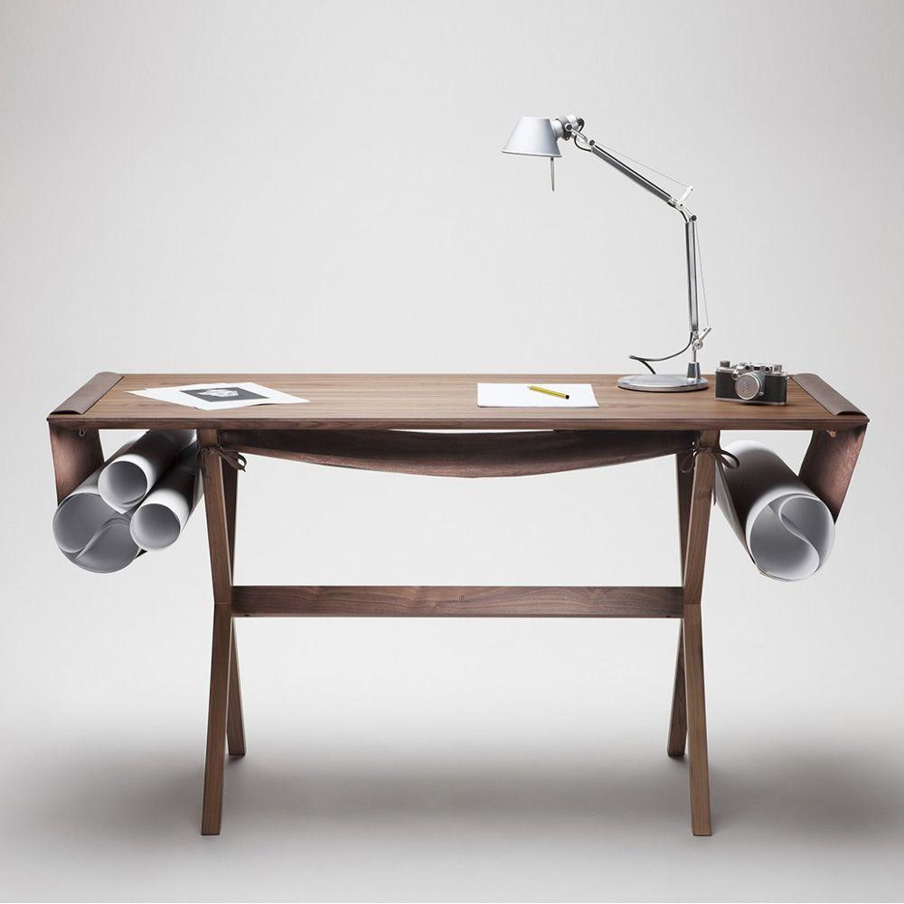 Oscar scrivania valsecchi in legno con sacca for Portaoggetti scrivania