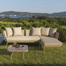 Ally Set - Ensemble de jardin design: canapé avec chaise longue et table basse en aluminium 60x60 cm