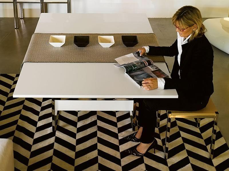 Didone r tavolino trasformabile in tavolo da pranzo 76 152x120 cm altezza 41 74 cm in for Tavolo da biliardo trasformabile in tavolo da pranzo