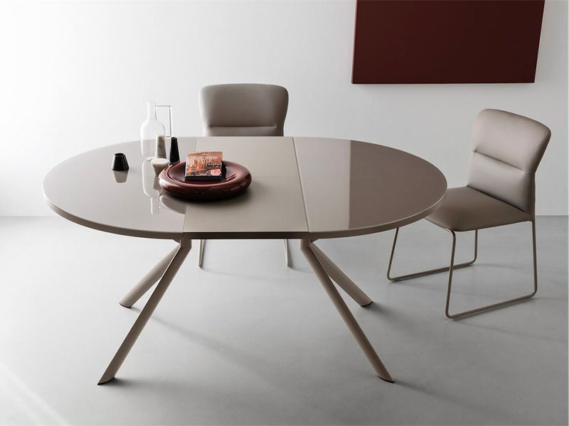 Cb4739 giove coonubia calligaris extendable metal table for Table ronde 100 cm avec rallonge