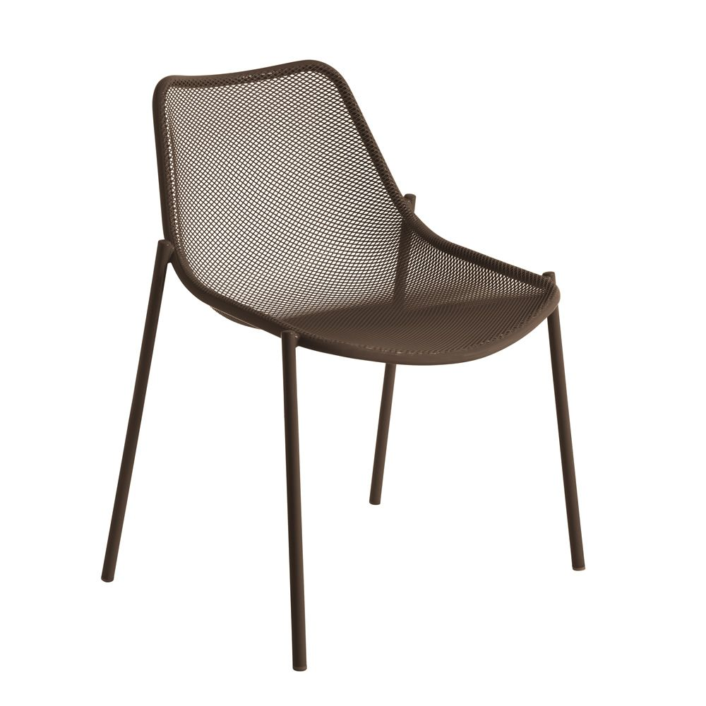 outdoor metal chair. Round - India Brown Varnished Metal Chair Outdoor