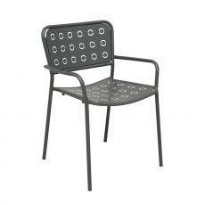 RIG75P - Chaise en métal avec accoudoirs, empilable, disponible en différentes couleurs, idéale pour une l'utilisation à l'extérieur