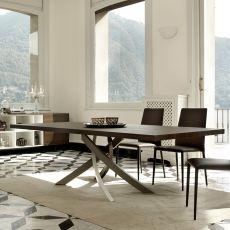 Artistico Wood - Tavolo di design di Bontempi Casa, fisso 200x106 cm, con basamento centrale in metallo e piano in legno, disponibile in diversi colori