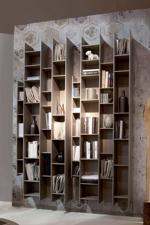 Byblos libreria modulare da parete in legno - Libreria a parete ...