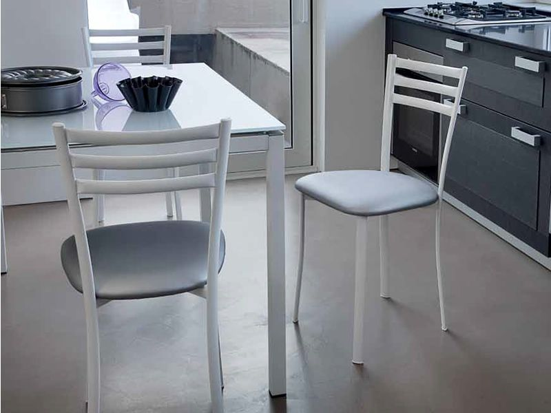 Time sedia domitalia in metallo con seduta imbottita e for Sedie in similpelle