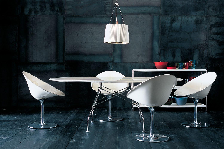 Eros poltroncina girevole kartell con base centrale in - Sedia di design ...