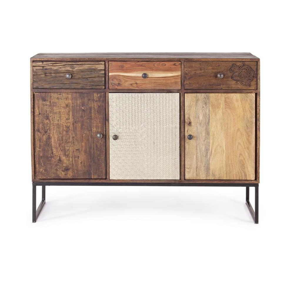 Adesivo De Led Para Copo ~ Abuja 3A 3C Aparador vintage para la sala de estar, en madera con patas de hierro, con puertas