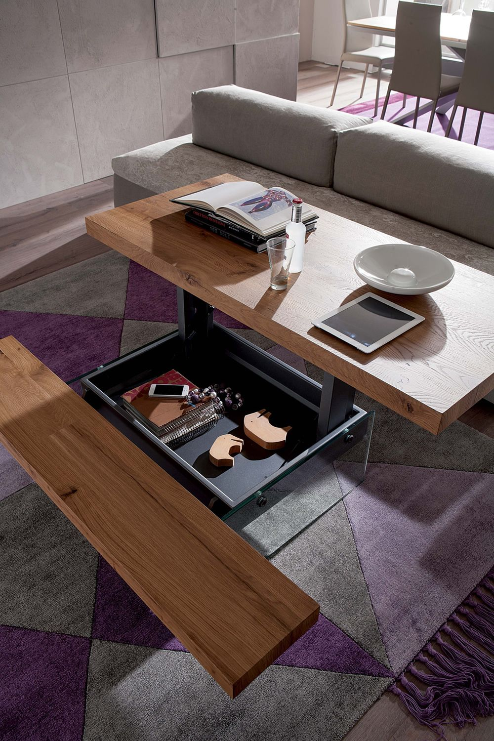 Markus two height transformable coffee table in metal - Transformable coffee table ...