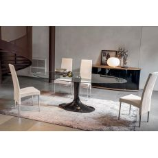 Imperial 8010 - Tonin Casa table made of agglomerated marble in mocha brown colour with oval top in trasparent glass, 200 x 105 cm