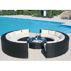 Atollo - Outdoor garden set, with two semicircular sofas and small round table, aluminum and synthetic rattan, available in different colors