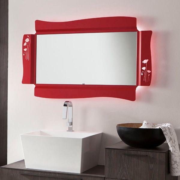 Poppy c miroir avec cadre lumineux en m tal led for Miroir cadre metal