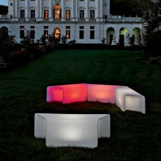 Nova-B - Design bench made of technopolymer, modular, different colours available, also with light system, for outdoor