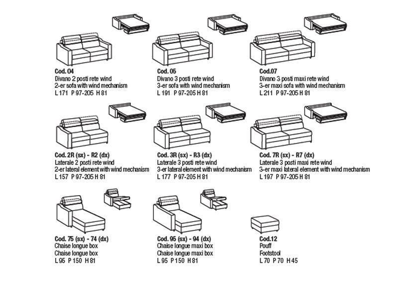 eros modernes 2 oder 3maxi sitzer schlafsofa mit zur ckklappbarer kopfst tze sediarreda. Black Bedroom Furniture Sets. Home Design Ideas