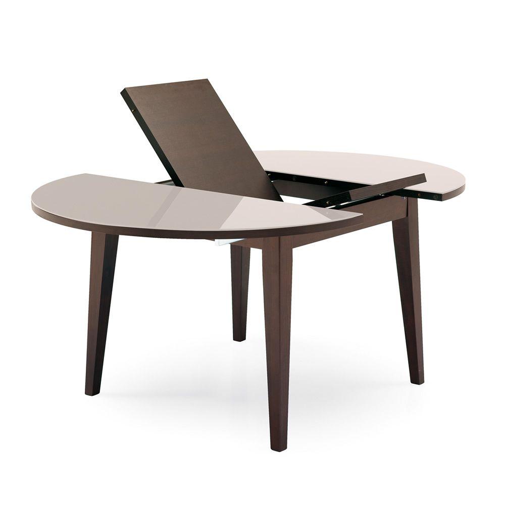 4717 w tavolo in legno con piano in vetro allungabile for Tavolo tondo allungabile calligaris
