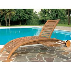 Mirage L - Sun lounger in robinia wood, adjustable backrest, with or without armrests