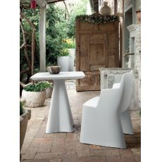 Compass - Domitalia table made of polyethylene, for garden, round or square top