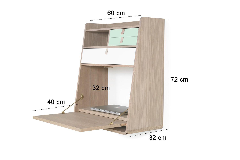 gaston secr taire mural en bois avec tablette rabattable et trois tiroirs. Black Bedroom Furniture Sets. Home Design Ideas