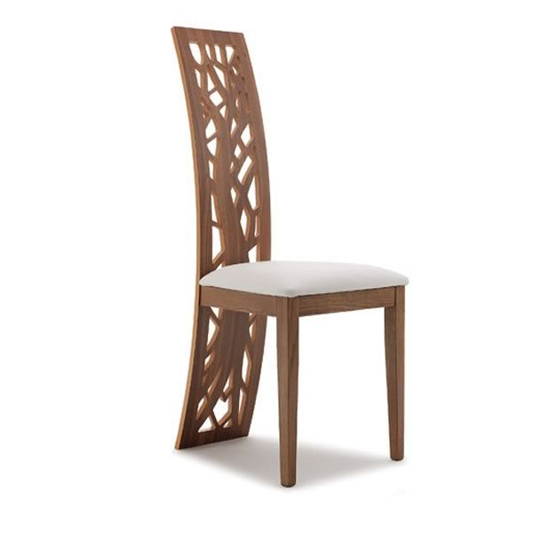 Sedie Design Schienale Alto.Issa Design Wood Chair With Decorated Back Padded Seat