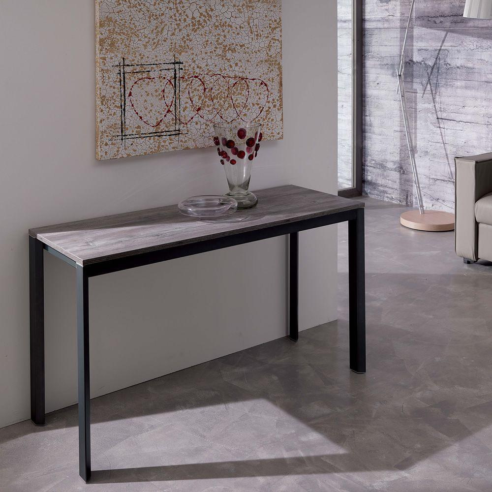 Voil consolle in metallo piano in legno 125x47 cm for Consolle metallo