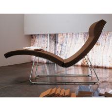 Relax-TS - Chaise longue Midj in metallo, seduta rivestita in pelle, similpelle o tessuto, diversi colori