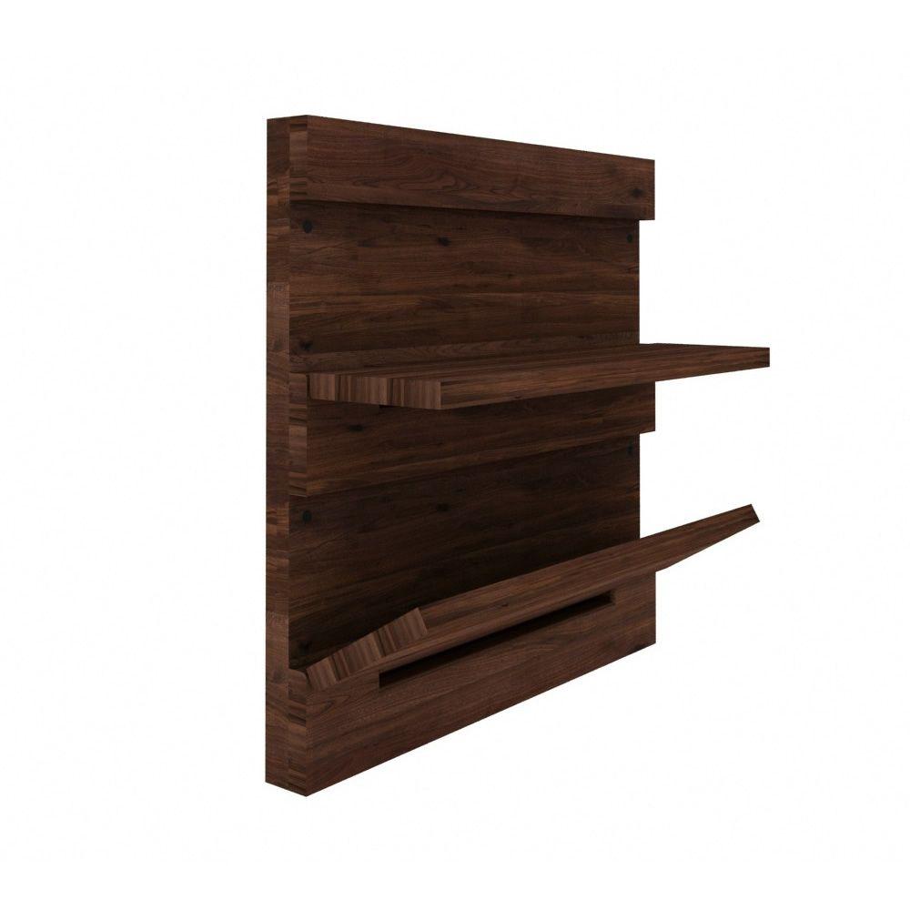 Utilitle s pensile da parete ethnicraft in legno con for Mensole in noce