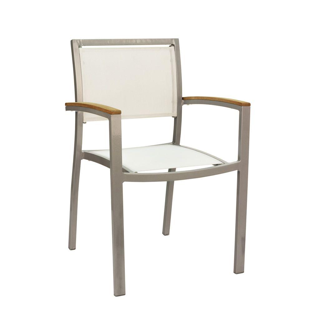 Tt9 silla apilable con reposabrazos en aluminio y for Sillas de madera para exterior