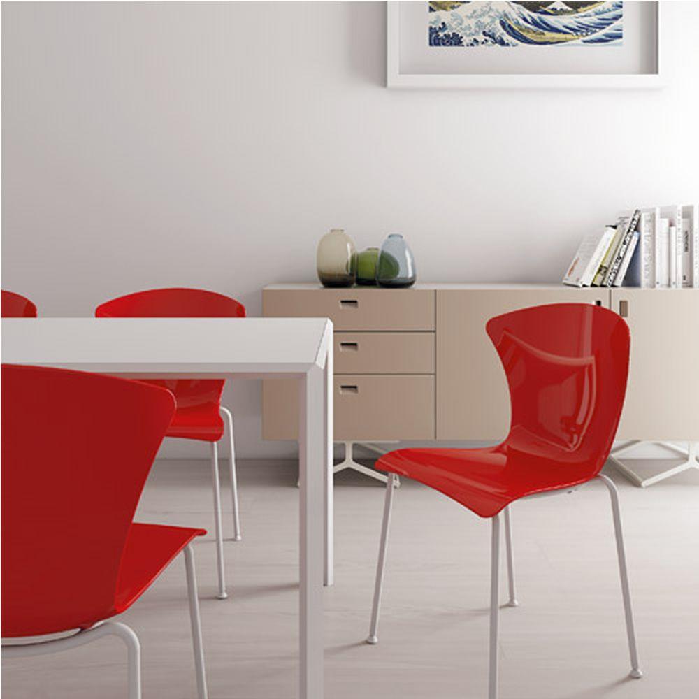 Glossy silla apilable infiniti en metal asiento de policarbonato o con tapizado en distintos - Sillas en policarbonato ...