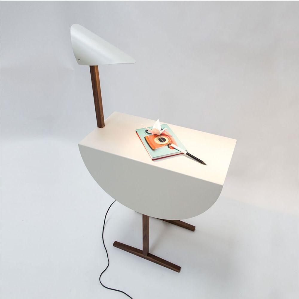 ostrich beistelltisch nachttisch valsecchi aus holz una metall mit einbau lampe in. Black Bedroom Furniture Sets. Home Design Ideas